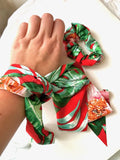 Red satin scrunchie and green exotic foliage LIVI