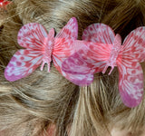 Pink butterfly hair clips ANNA