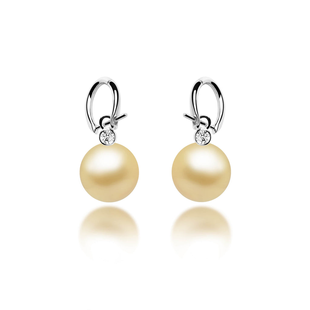 Sally Gold Southsea Pearl Diamond Earrings - VenessaDiamond