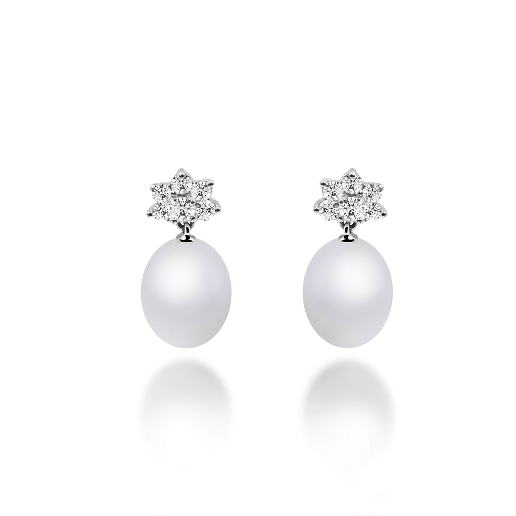 Arista South Sea Pearl Diamond Earrings - VenessaDiamond