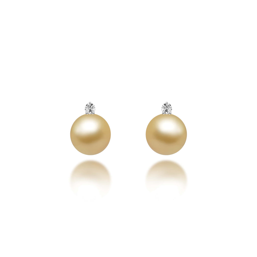 Adella Gold South Sea Pearl Diamond Earrings - VenessaDiamond