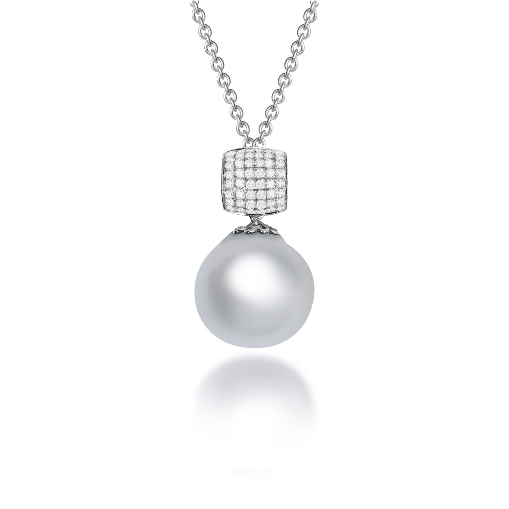 Kallianassa South Sea Pearl Diamond Pendant - VenessaDiamond