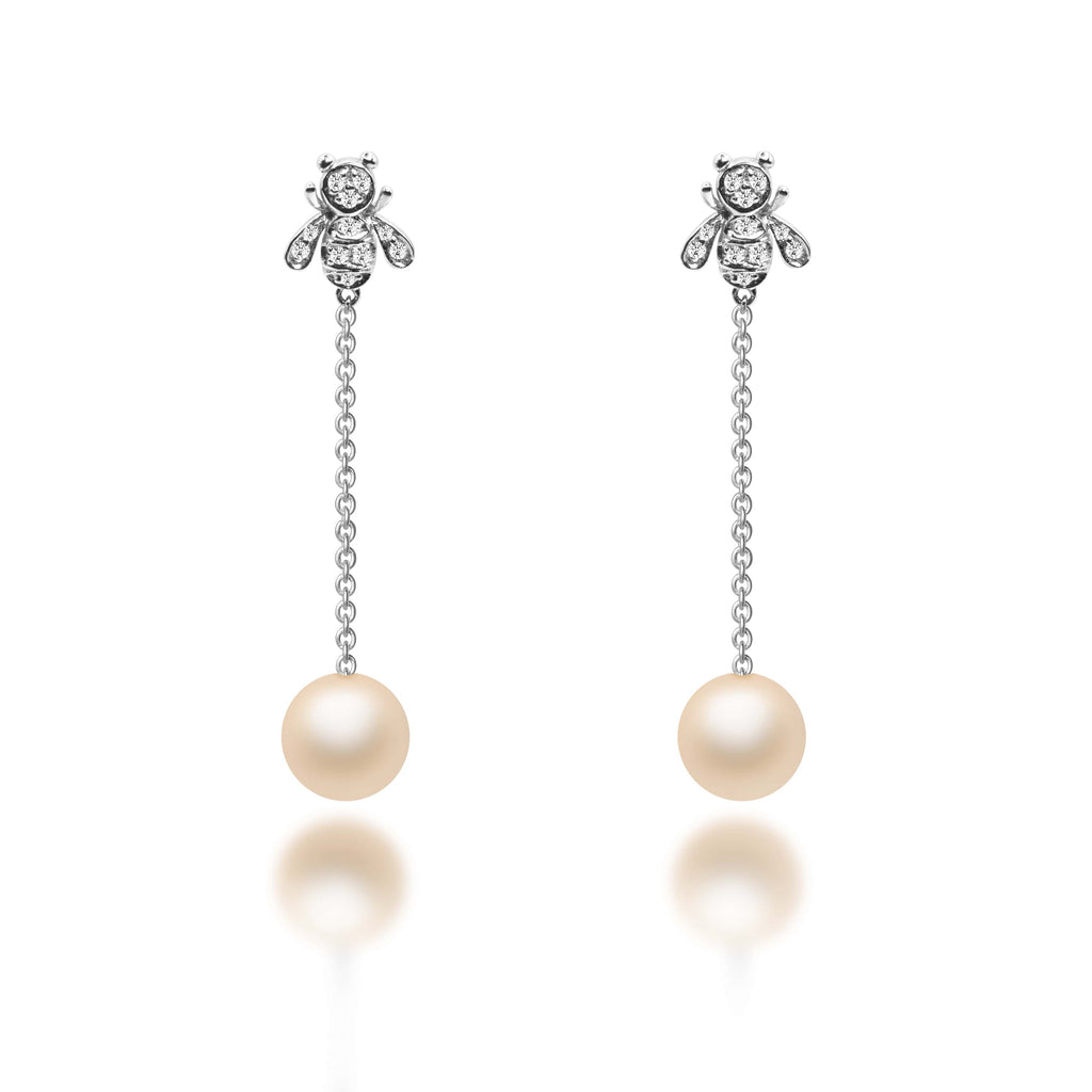Ursula Light Orange Freshwater Pearl Diamond Earrings - VenessaDiamond