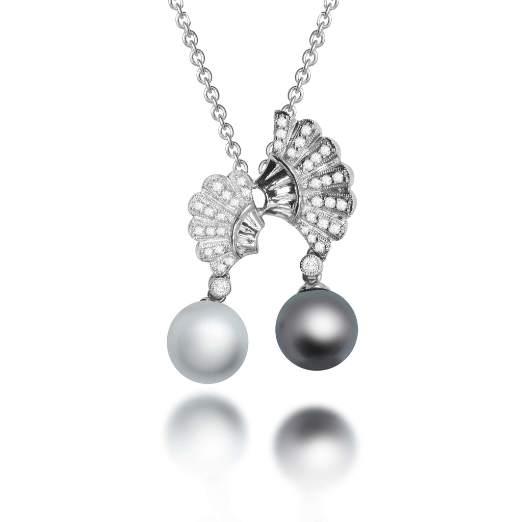 Maris South Sea & Tahitian Pearl Diamond Pendant - VenessaDiamond