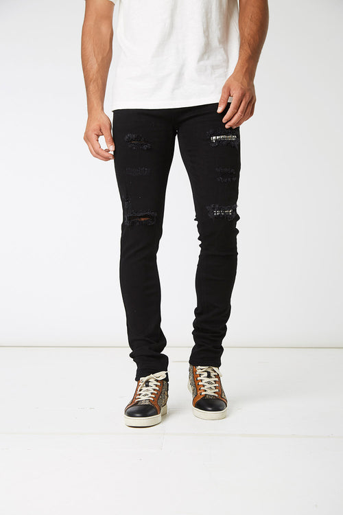 Black Stud Denims