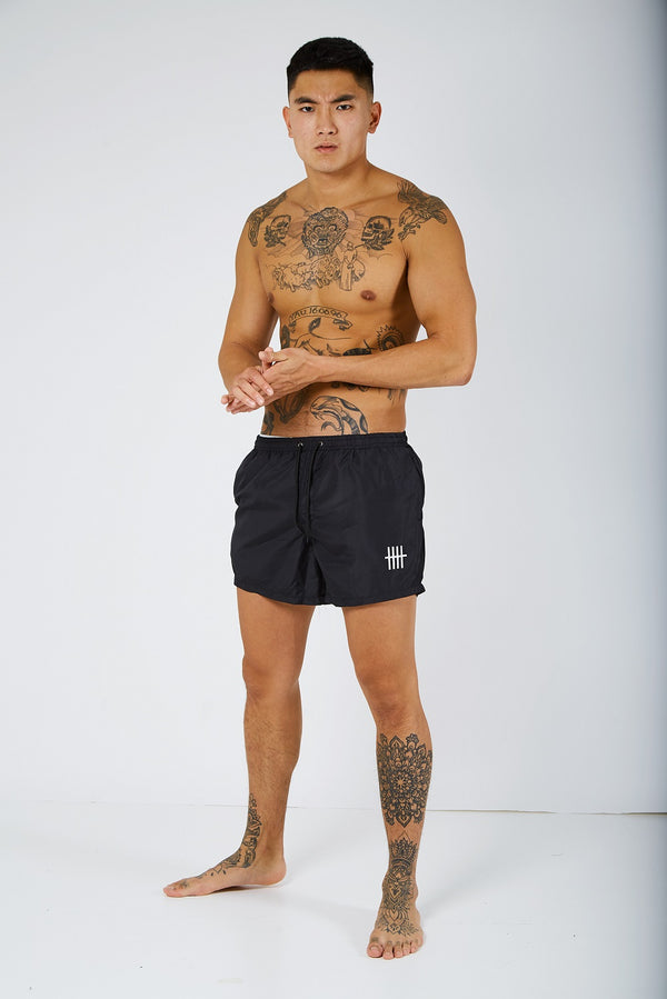 Brink Drawstring Waist Swim Shorts - Black