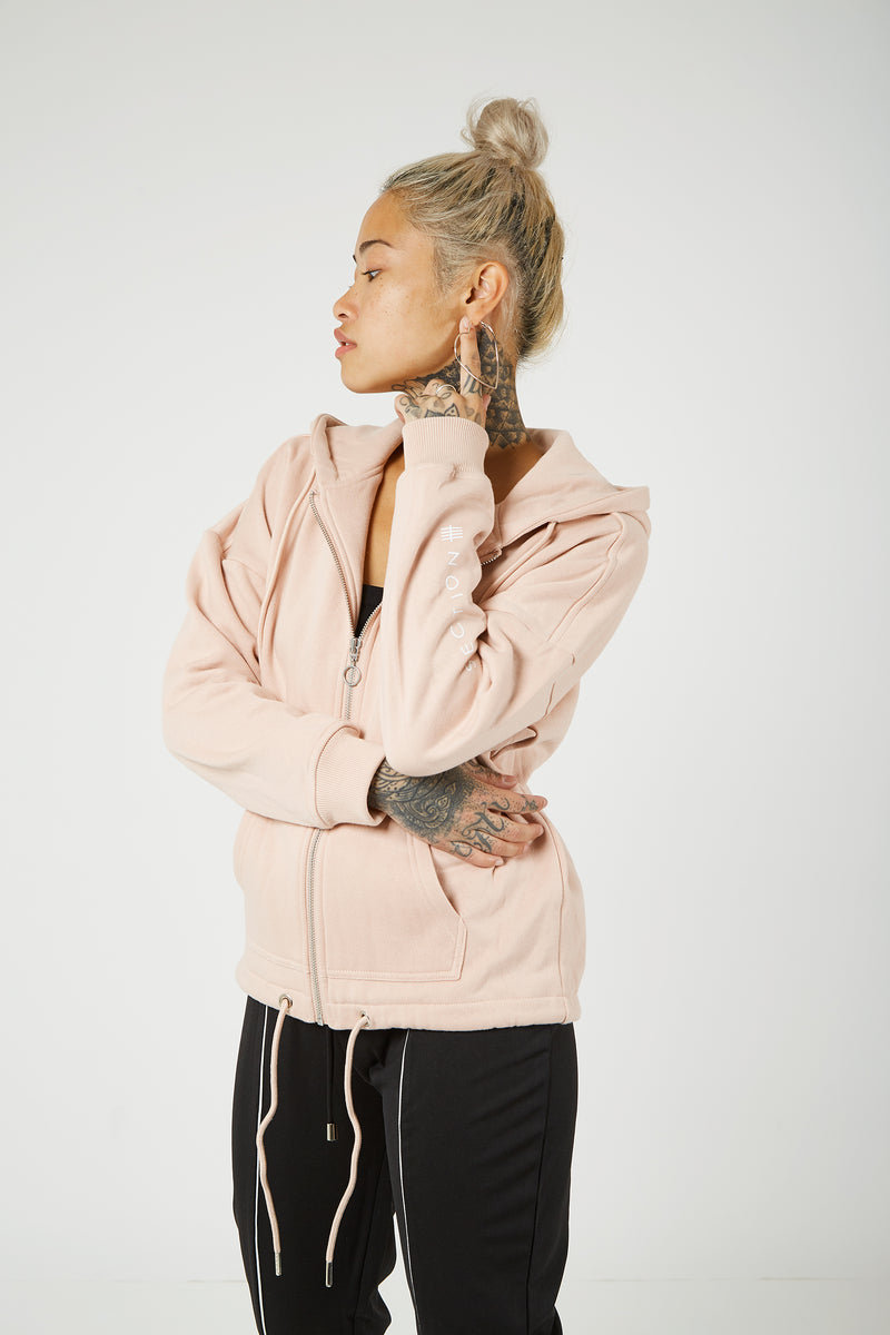 Zipped Hooded Jumper - Baby Pink