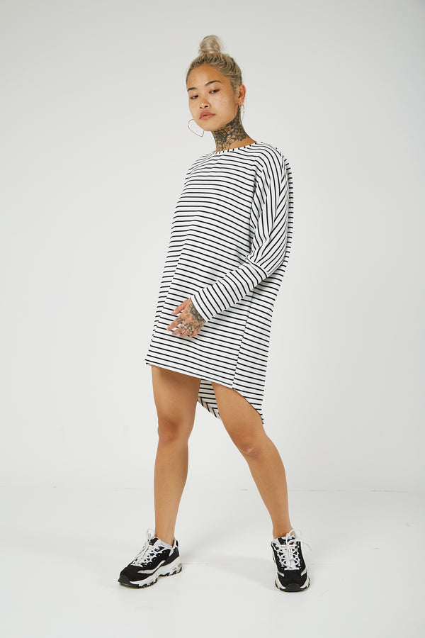 White Stripe Long Sleeve Batwing Dip Hem Top