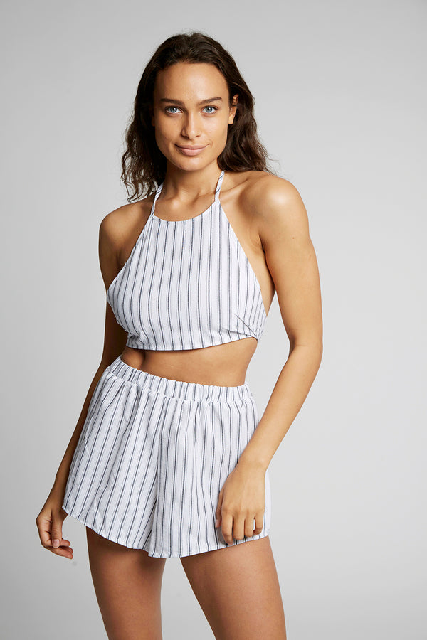 Knot Back Halter Top With Shorts X By Kady