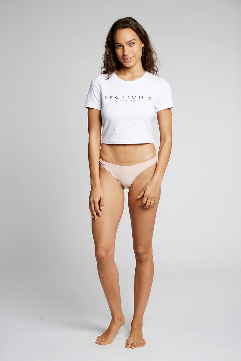 White Section 'Walking Advertisement' Crop Top
