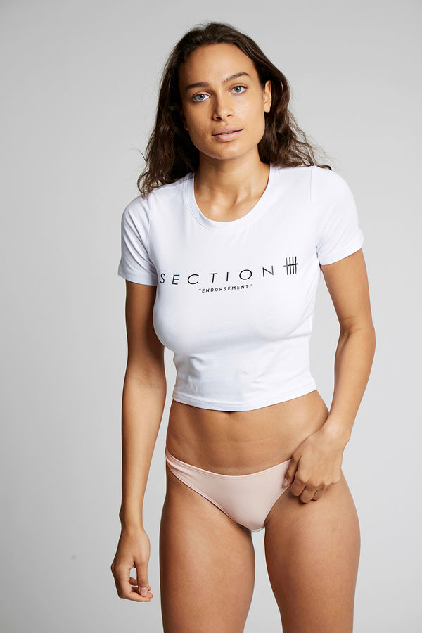 White Section 'Endorsement' Crop Top