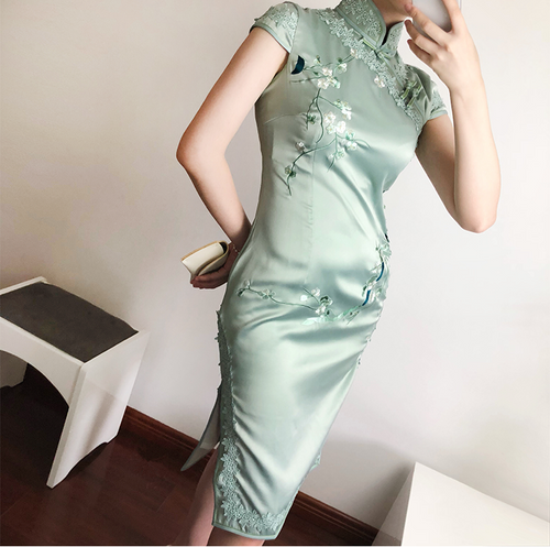 Ethereal short cheongsam (ready stock in M pink/ 4 colours)