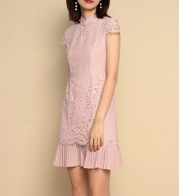 Ivy cheongsam dress (Ready stock in Pink (S) and white (XL)/5 colours)