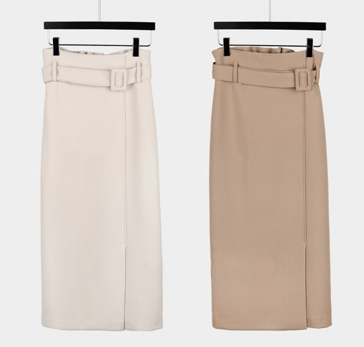 Belted bodycon skirt (ready stock in khaki (S, M and XL) and ivory (M)/ 3 colours)
