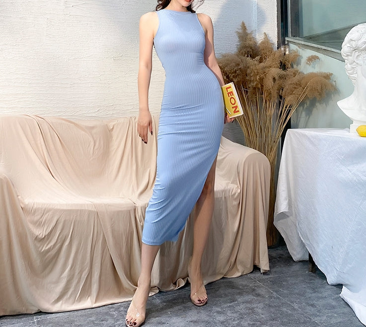Hadid ribbed maxi (ready stock in blue (SML) and Black (S)/ 2 colours)