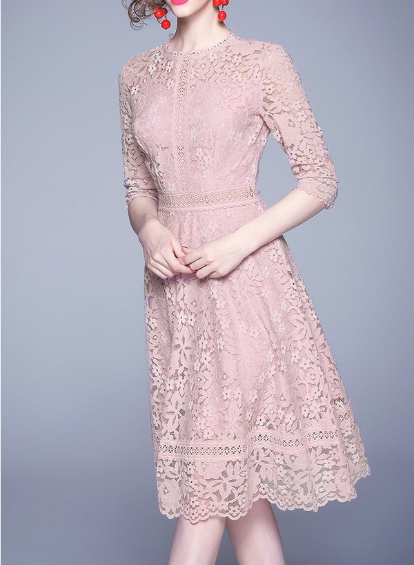 Lushee lace dress (ready stock in pink and blue (S)/ 2 colours)