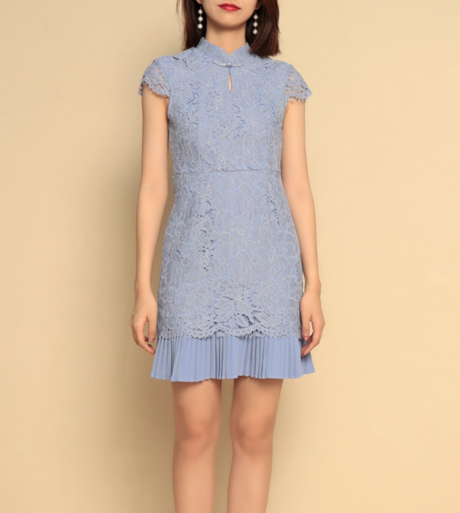 Ivy cheongsam dress (READY STOCK IN POWDER BLUE L/5 colours)