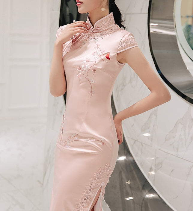 Ethereal long cheongsam (ready stock in pink (S)/ 4 colours)