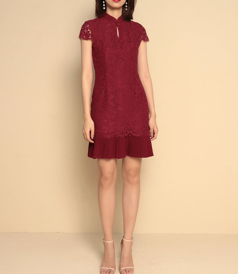 Ivy cheongsam dress (Ready stock in Pink (S)/5 colours)