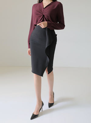 Ruffled pencil skirt (preorder/ 3 colours)