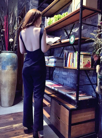 Backless edgy jumpsuit ( READY STOCK IN M and L)