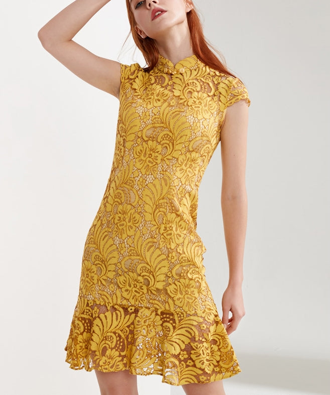Celia cheongsam dress (ready stock in green and mustard/ 5 colours)