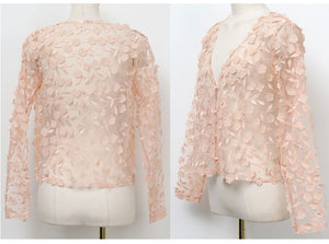 Sheer embroidered top (preorder/ 3 colours)
