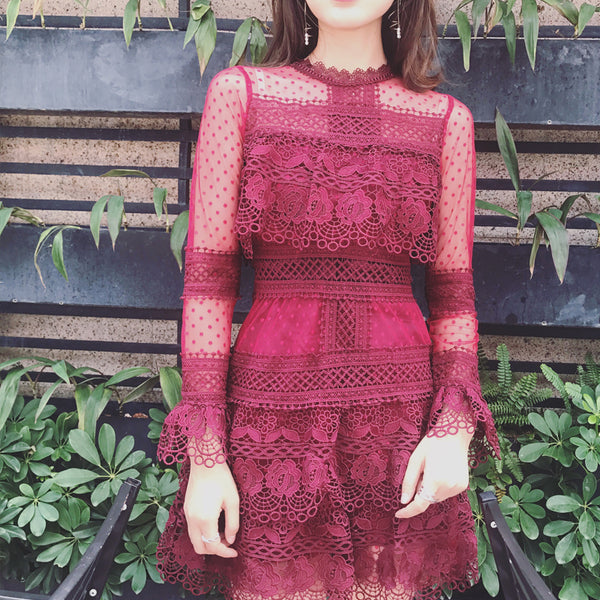 Dixie dress (ready stock in burgundy red/ 2 colours)