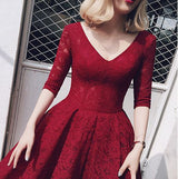 Amber lace cocktail dress (Ready stock in XL burgundy red)