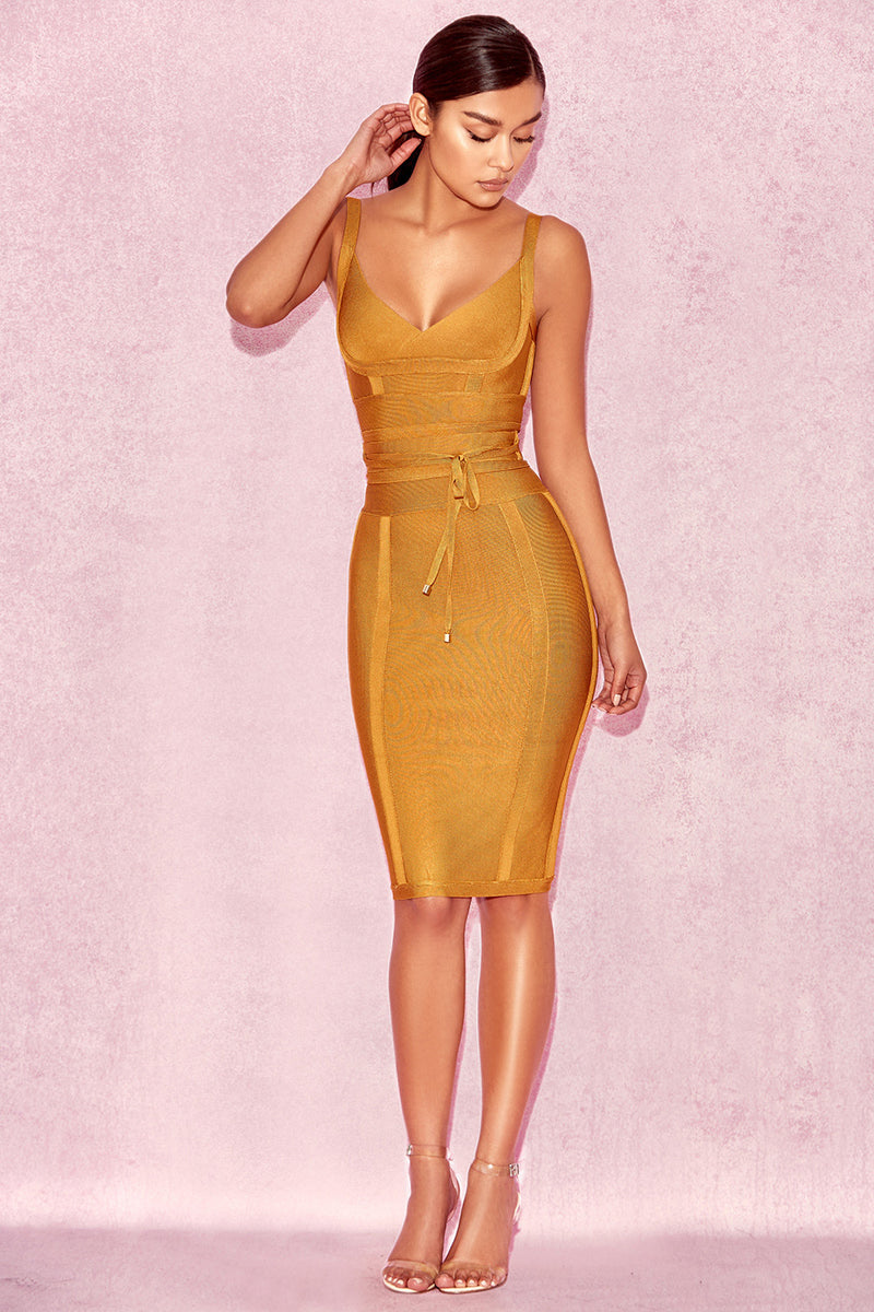 Obi wrap bandage dress (Ready stock in S (fits M), mustard yellow/ 4 colours)
