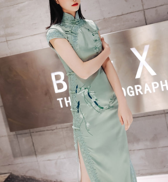 Ethereal long cheongsam (ready stock in S pink/ 4 colours)