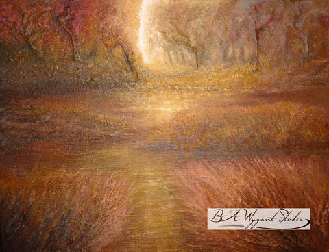 Autumn Light | Original Oil Painting on Sculptural Base
