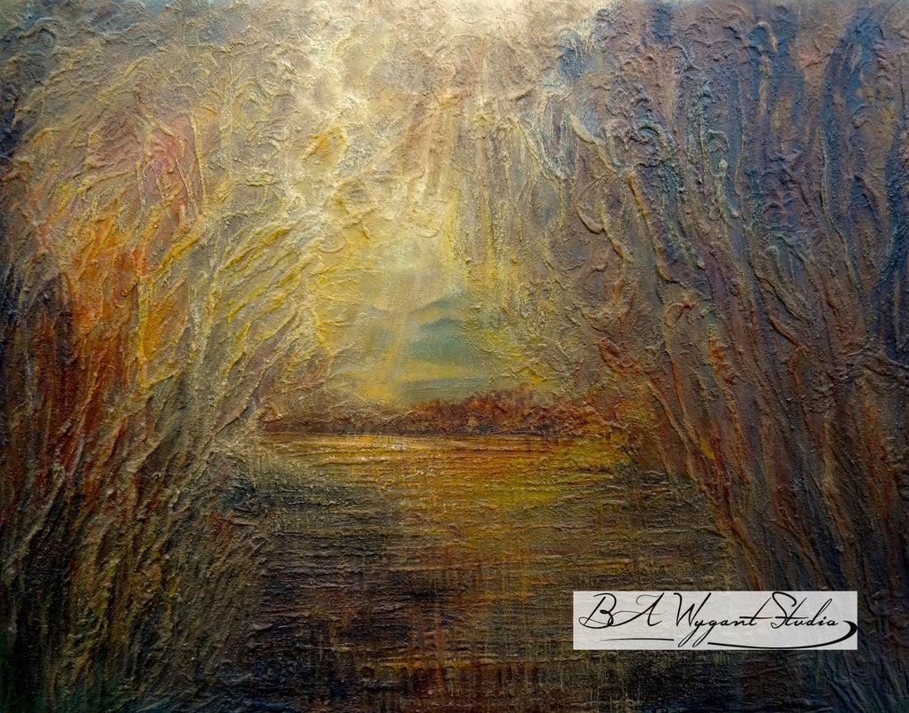 Sunrise | Original Oil Painting on Sculptural Base - BA Wygant Studio | Abstract Spiritual Contemporary Art