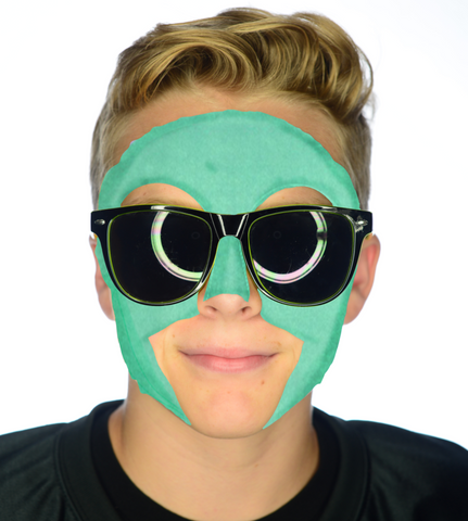 #9003 Green Game Day Face - Full Face Sticker