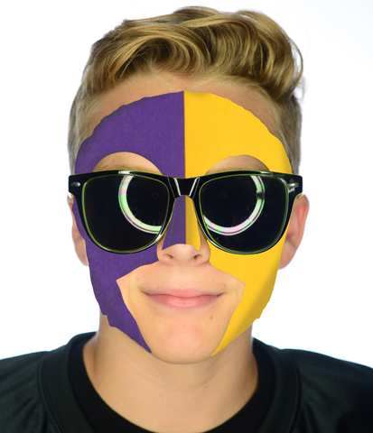 #9036 Purple/Gold Game Day Face - Full Face Sticker