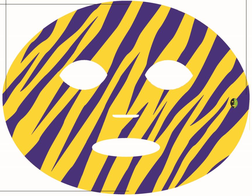 #9068 Gold/Blue Tiger Stripe Game Day Face