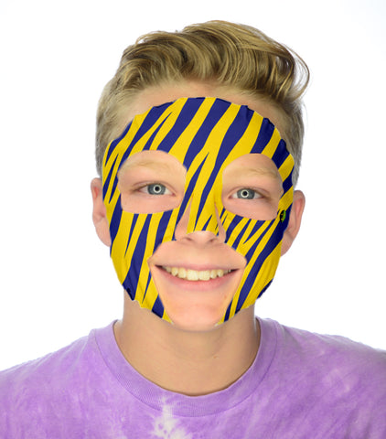 #9068 Gold/Blue Tiger Stripe Game Day Face - Full Face Sticker