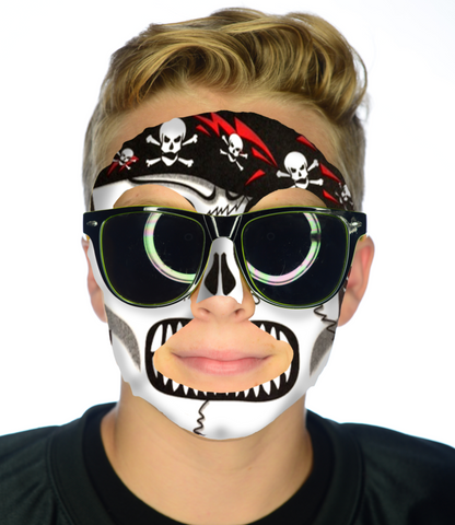 #9800 Skeleton Pirate Face - Full Face Sticker