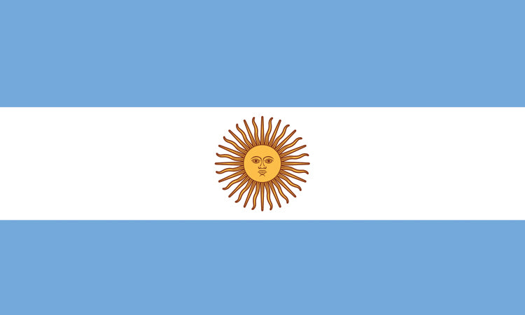 "Argentina #1002 1.5"" x 2.5"" - Flag Face Sticker"