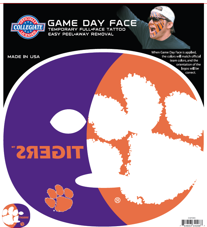 Clemson Tigers 4098 - Full Face Tattoo