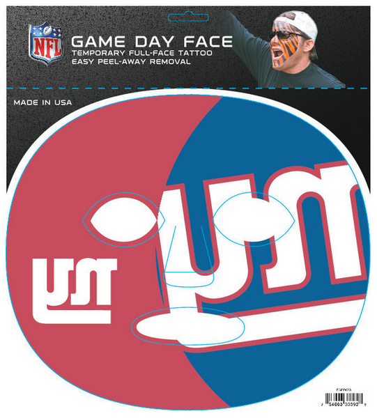 new york giants full face tattoo the gameface company. Black Bedroom Furniture Sets. Home Design Ideas