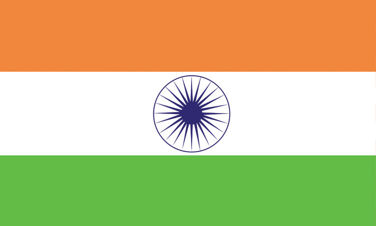 "India #1010 1.5"" x 2.5"" - Flag Face Sticker"