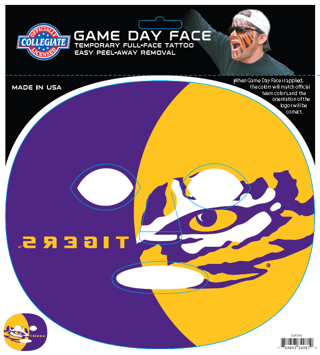 LSU Tigers-Full Face Tattoo