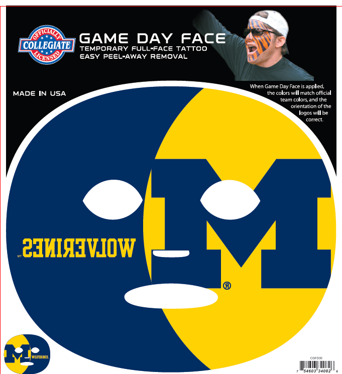 Michigan Wolverines-Full Face Tattoo