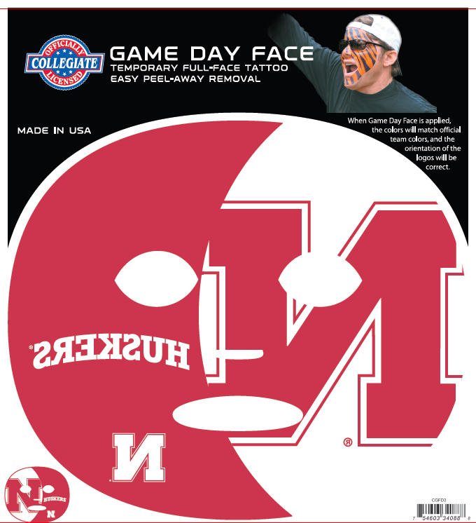 Nebraska Huskers 4088 - Full Face Tattoo