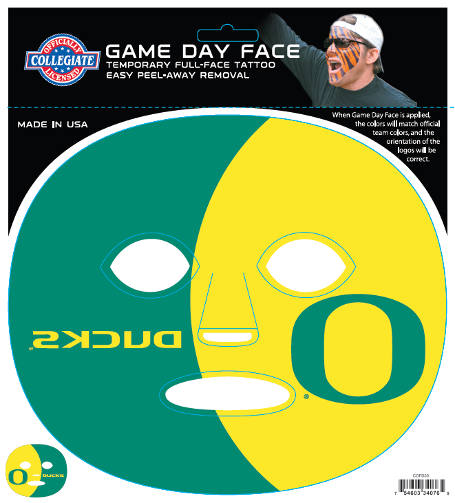 Oregon Ducks 4076 - Full Face Tattoo