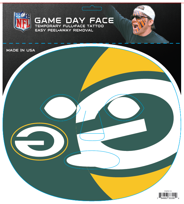Green Bay Packers 3391 - Full Face Tattoo