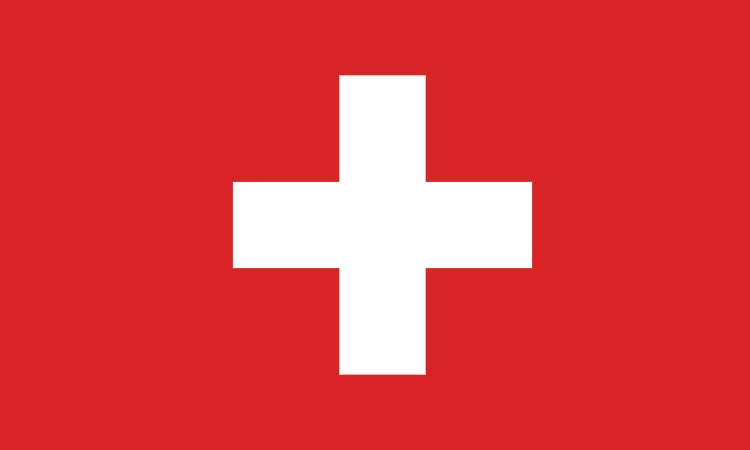 "Switzerland #1019 1.5"" x 2.5"" - Flag Face Sticker"