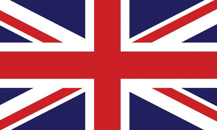 "United Kingdom #1021 1.5"" x 2.5"" - Flag Face Sticker"