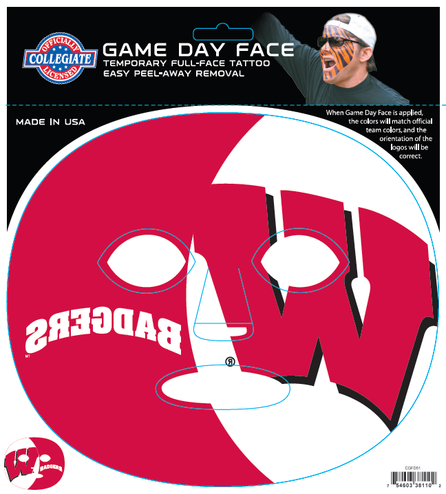 Wisconsin Badgers-Full Face Tattoo